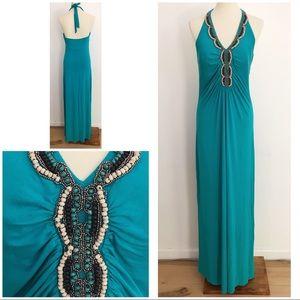 EUC CACHÉ Beaded Turquoise Maxi Halter Dress Large